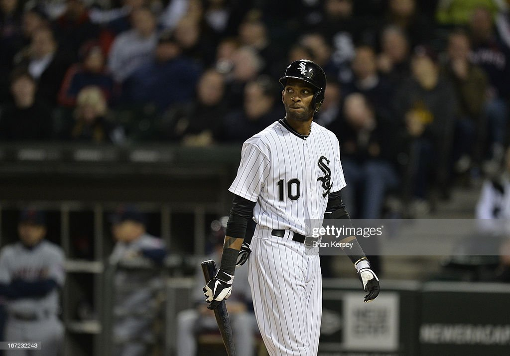 <a gi-track='captionPersonalityLinkClicked' href=/galleries/search?phrase=Alexei+Ramirez&family=editorial&specificpeople=690568 ng-click='$event.stopPropagation()'>Alexei Ramirez</a> #10 of the Chicago White Sox walks back to the dugout after popping out during the ninth inning against the Cleveland Indians on April 22, 2012 at U.S. Cellular Field in Chicago, Illinois. The Indians defeated the White Sox 3-2.