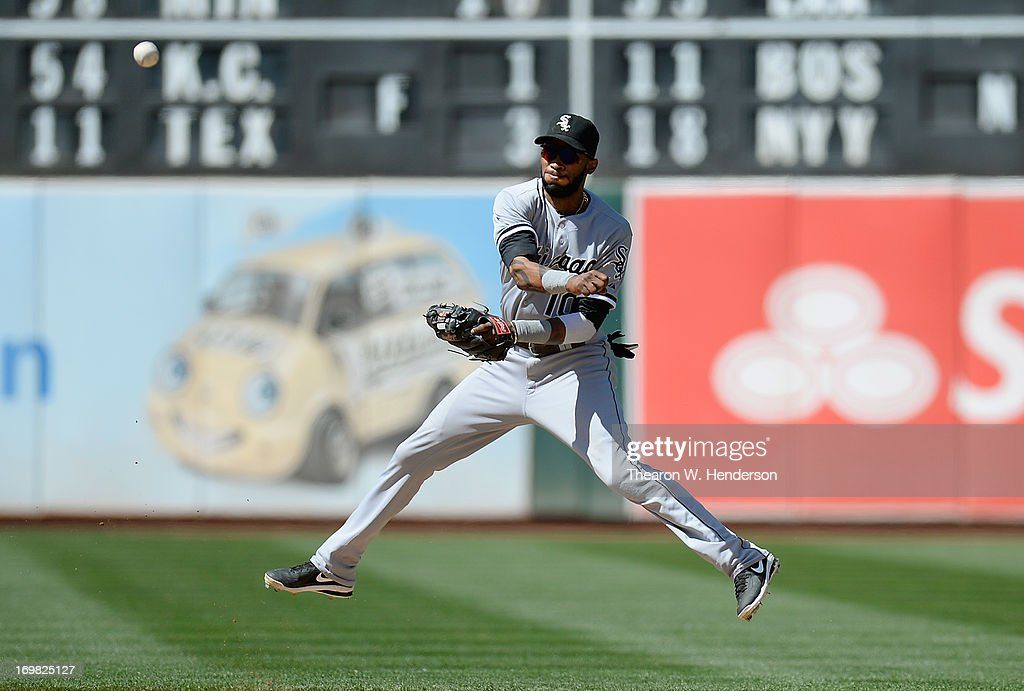 <a gi-track='captionPersonalityLinkClicked' href=/galleries/search?phrase=Alexei+Ramirez&family=editorial&specificpeople=690568 ng-click='$event.stopPropagation()'>Alexei Ramirez</a> #10 of the Chicago Whites Sox makes an off balance throw to first base throwing out Derek Norris #36 of the Oakland Athletics during the seventh inning at O.co Coliseum on June 2, 2013 in Oakland, California.