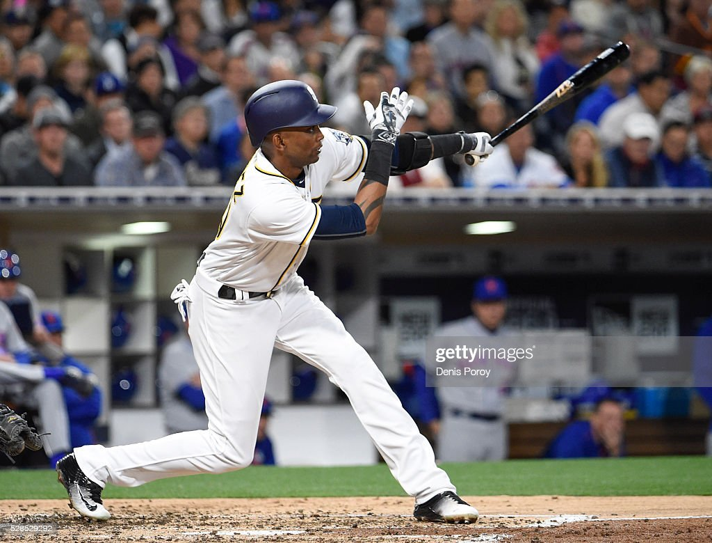 <a gi-track='captionPersonalityLinkClicked' href=/galleries/search?phrase=Alexei+Ramirez&family=editorial&specificpeople=690568 ng-click='$event.stopPropagation()'>Alexei Ramirez</a> #10 of the San Diego Padres hits an RBI double during the third inning of a baseball game against the New York Mets at PETCO Park on May 5, 2016 in San Diego, California.
