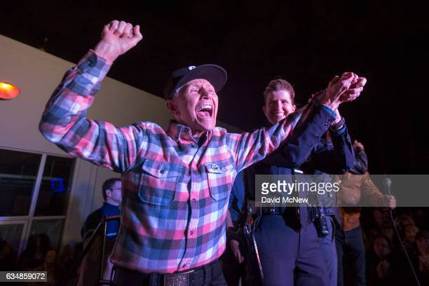 Alexei Romanoff perhaps the last surviving participant in the Black Cat protest gives a cheer during a rally to mark the 50th anniversary of the...
