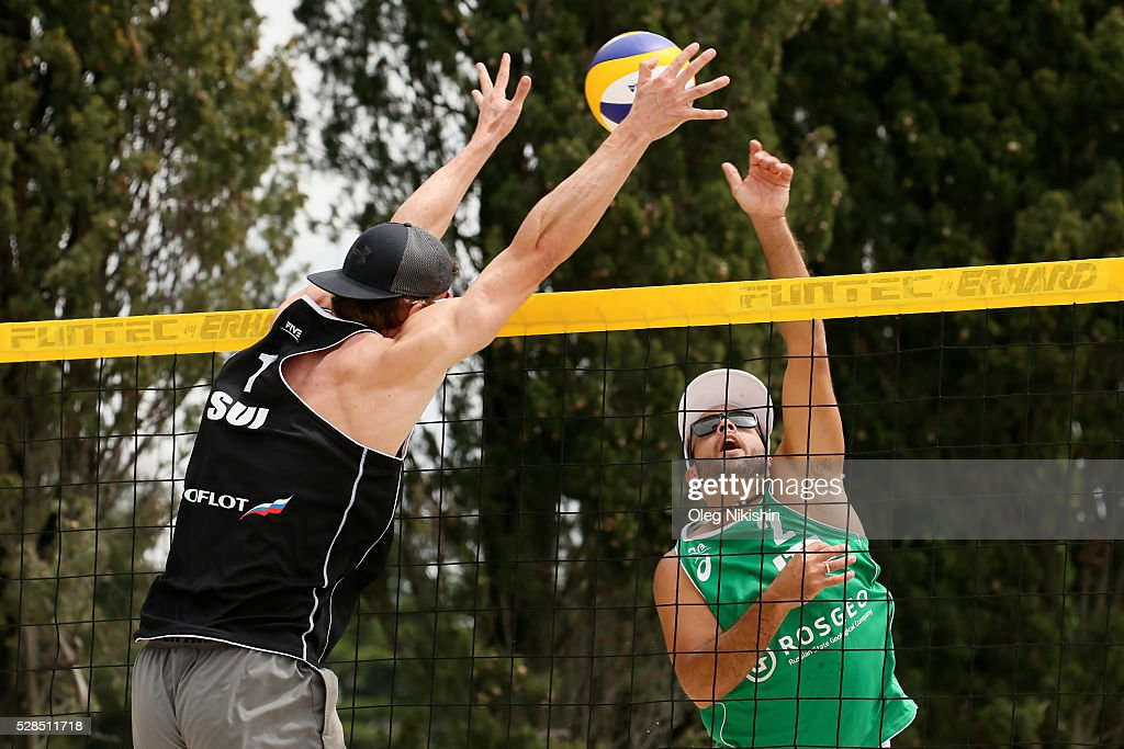 Alexei Strasser of Switzerland and Adrian Ignacio Carambula Raurich of Italy duel at the net during 3d day of FIVB Sochi Open presented by VTB on May 5, 2016 in Sochi, Russia.