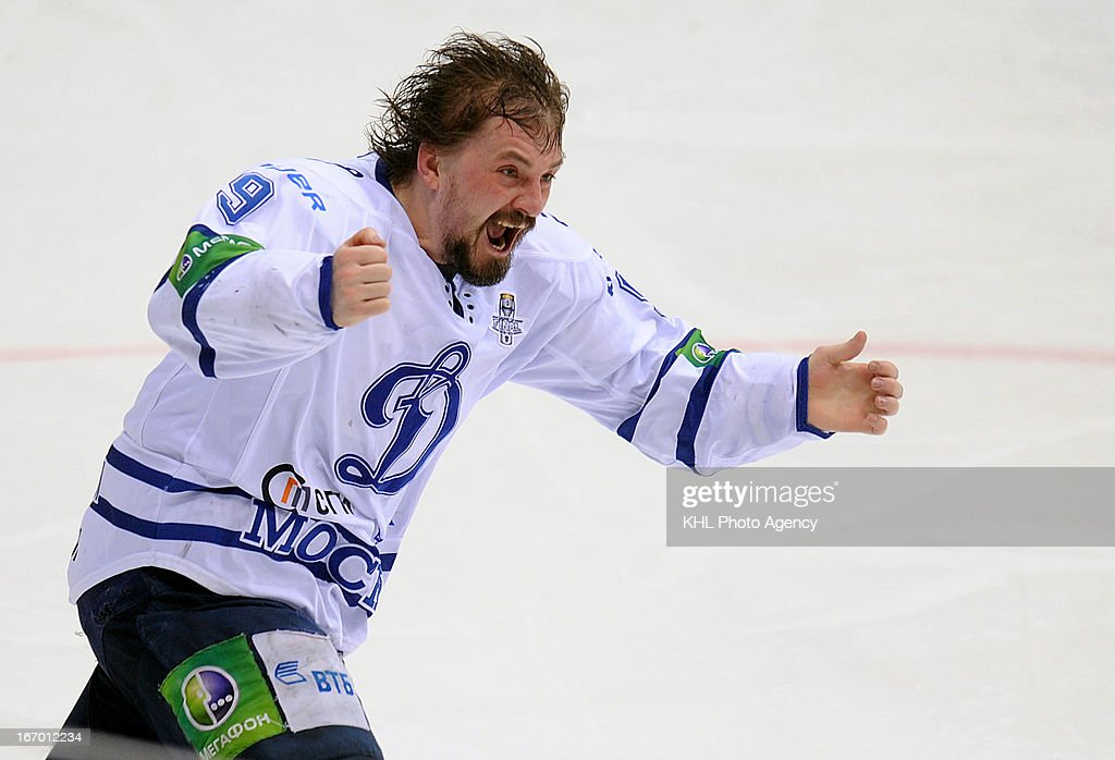 Alexei Tsvetkov #9 of the Dinamo celebrates after defeating Traktor Chelyabinsk at the final play-off game during the KHL Championship 2012/2013 on April 18, 2013 at the Arena Traktor in Chelyabinsk, Russia.