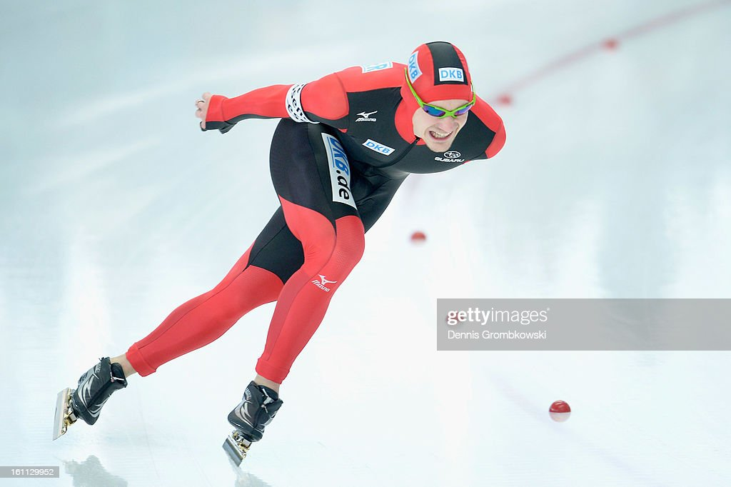 Alexeij Baumgaertner of Germany competes in the Men's 5000m Division A race during day one of the ISU Speed Skating World Cup at Max Eicher Arena on February 9, 2013 in Inzell, Germany.