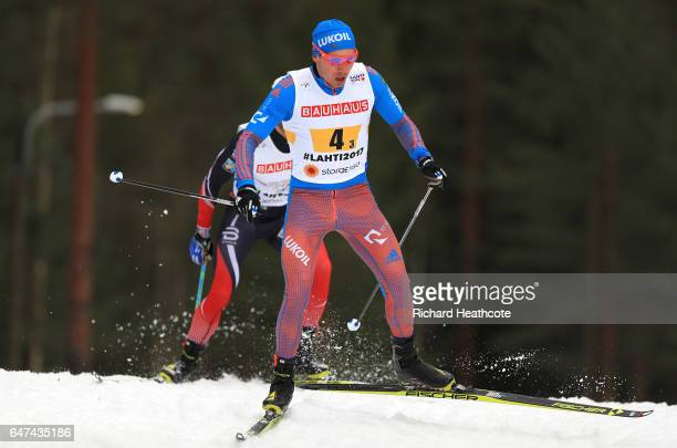 Alexey Chervotkin of Russia competes in the Men's 4x10km Cross Country Relay during the FIS Nordic World Ski Championships on March 3 2017 in Lahti...
