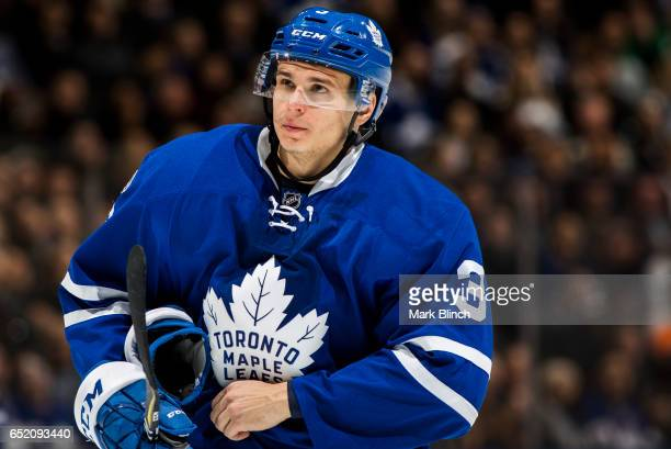 Alexey Marchenko of the Toronto Maple Leafs looks on while playing the Philadelphia Flyers during the second period at the Air Canada Centre on March...