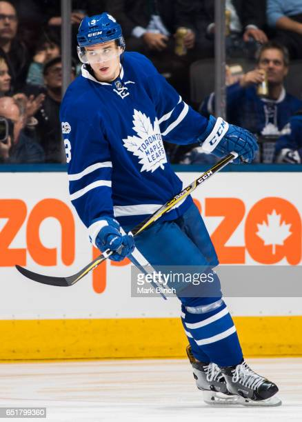 Alexey Marchenko of the Toronto Maple Leafs skates agains the Detroit Red Wings during the first period at the Air Canada Centre on March 7 2017 in...