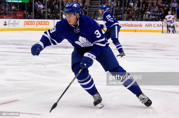 Alexey Marchenko of the Toronto Maple Leafs skates against the New Jersey Devils during the first period at the Air Canada Centre on March 23 2017 in...