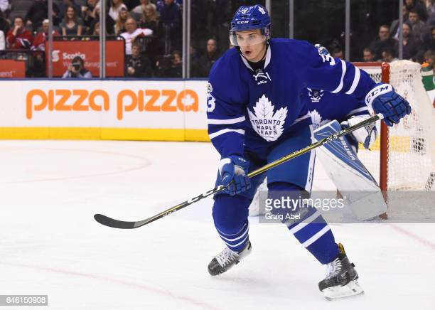 Alexey Marchenko of the Toronto Maple Leafs skates against the Montreal Canadiens during the second period at the Air Canada Centre on February 25...