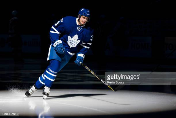 Alexey Marchenko of the Toronto Maple Leafs skates prior to an NHL game against the Detroit Red Wings at the Air Canada Centre on March 7 2017 in...
