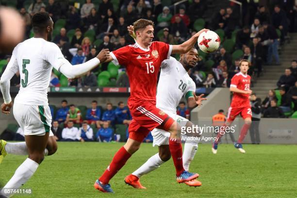 Alexey MIRANCHUK Miranchuk of Russia in action against Wilfried ZAaha and Die Serey of Cote d'Ivoire's during the friendly football match at...