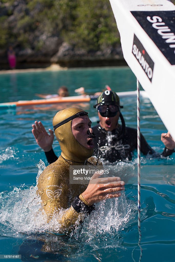 Alexey Molchanov of Russia comes to the surface during the Suunto free diving world cup on November 24, 2012 in Long Island, Bahamas.