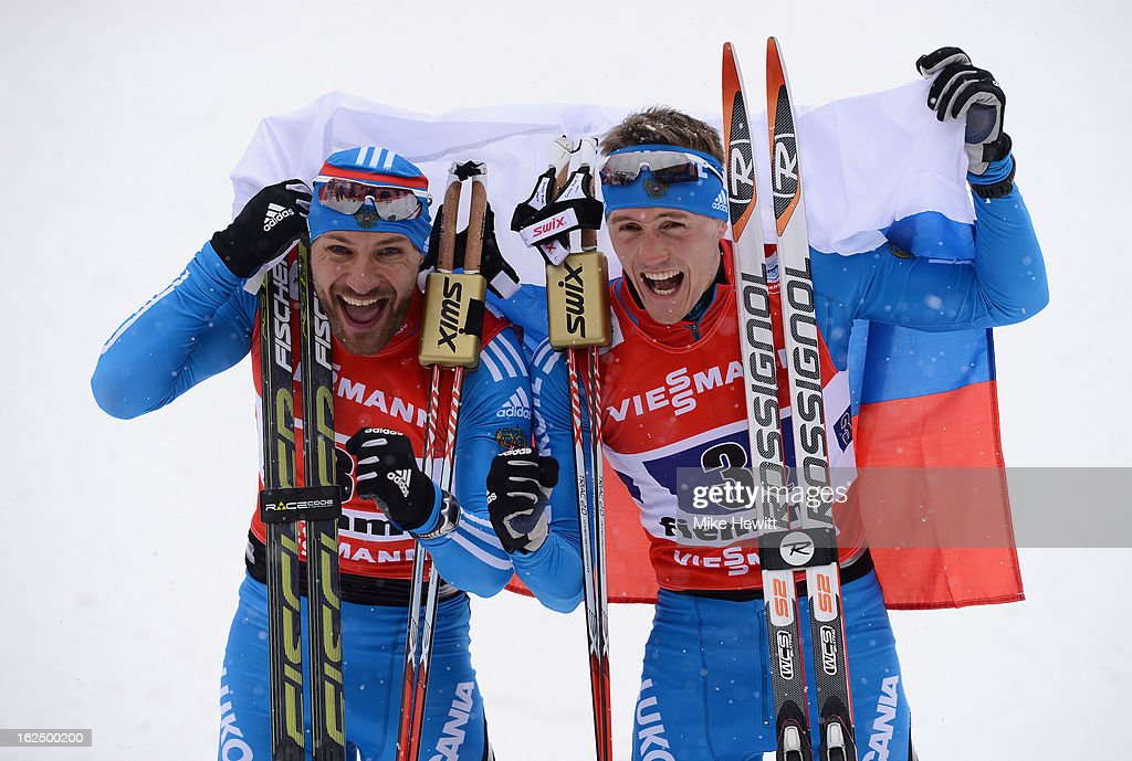 <a gi-track='captionPersonalityLinkClicked' href=/galleries/search?phrase=Alexey+Petukhov&family=editorial&specificpeople=6753232 ng-click='$event.stopPropagation()'>Alexey Petukhov</a> (L) and <a gi-track='captionPersonalityLinkClicked' href=/galleries/search?phrase=Nikita+Kriukov&family=editorial&specificpeople=4907513 ng-click='$event.stopPropagation()'>Nikita Kriukov</a> of Russia celebrate victory in the Men's Team Sprint Final at the FIS Nordic World Ski Championships on February 24, 2013 in Val di Fiemme, Italy.