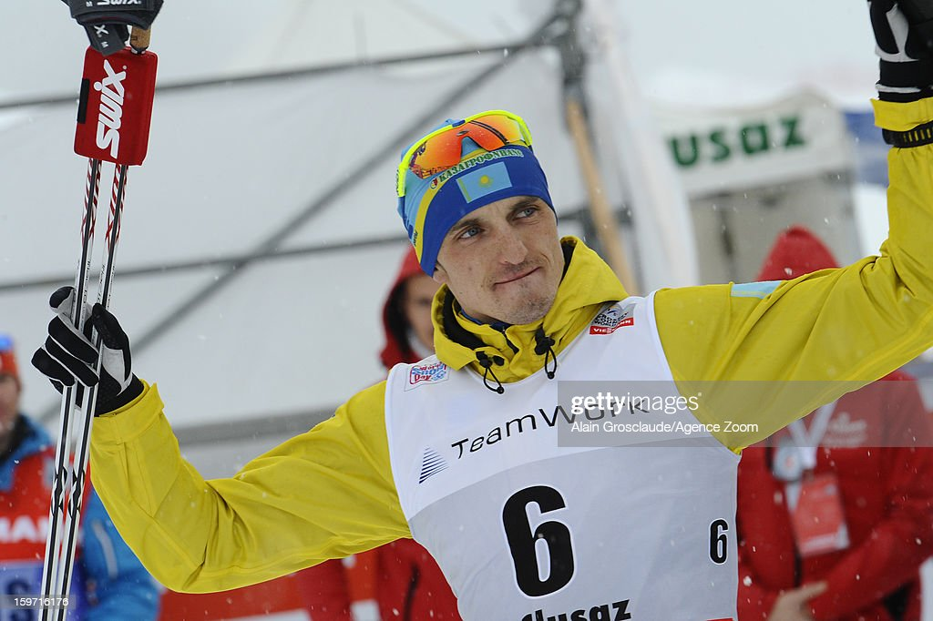 Alexey Poltaranin of Kazakstan takes 1st place during the FIS Cross-Country World Cup Men's Mass Start on January 19, 2013 in La Clusaz, France.