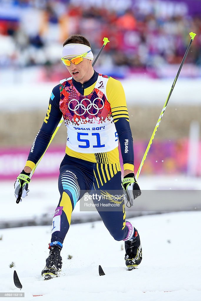 <a gi-track='captionPersonalityLinkClicked' href=/galleries/search?phrase=Alexey+Poltoranin&family=editorial&specificpeople=4131263 ng-click='$event.stopPropagation()'>Alexey Poltoranin</a> of Kazakhstan competes in the Men's 15 km Classic during day seven of the Sochi 2014 Winter Olympics at Laura Cross-country Ski & Biathlon Center on February 14, 2014 in Sochi, Russia.
