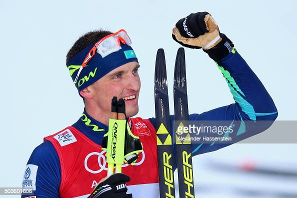 Alexey Poltoranin of Kazakhstan wins the Mens 15km Mass Start Classic Competition during day 2 of the FIS Tour de Ski event on January 6 2016 in...