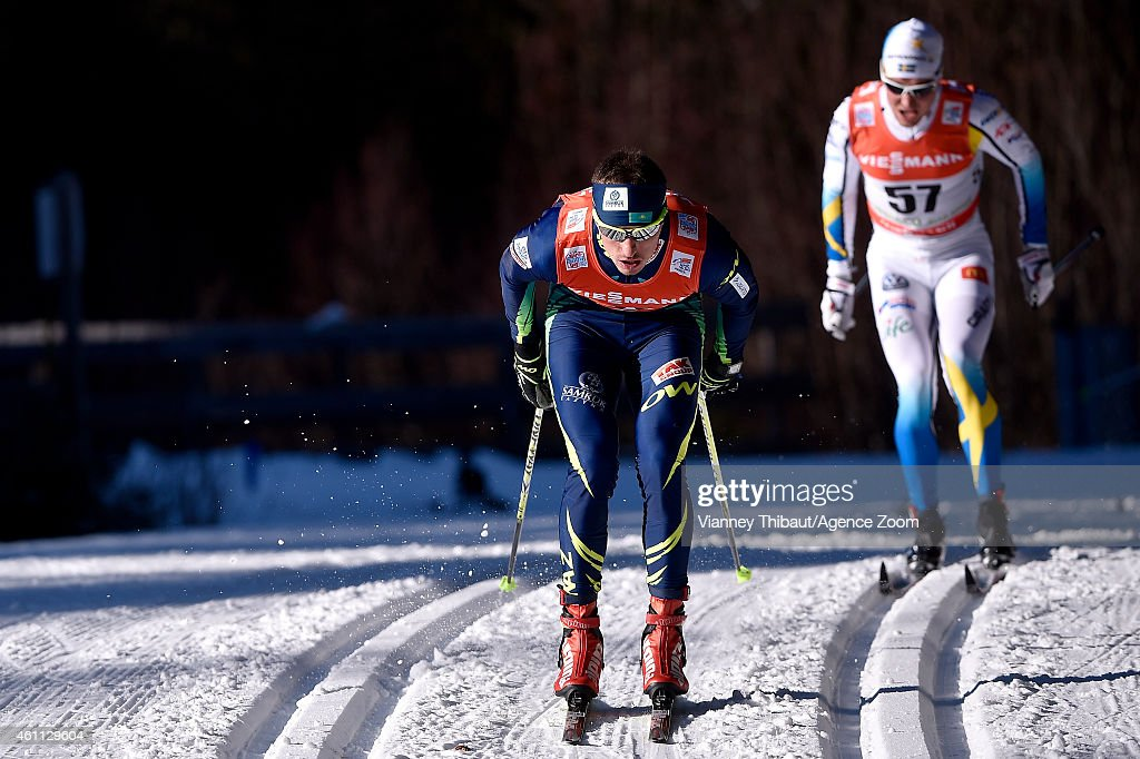 <a gi-track='captionPersonalityLinkClicked' href=/galleries/search?phrase=Alexey+Poltoranin&family=editorial&specificpeople=4131263 ng-click='$event.stopPropagation()'>Alexey Poltoranin</a> of Kazakstan takes 1st place during the FIS Cross-Country World Cup Men's and Women's Classic on January 07, 2015 in Toblach, Italy.