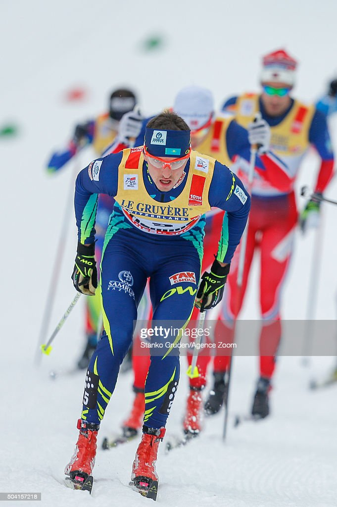 <a gi-track='captionPersonalityLinkClicked' href=/galleries/search?phrase=Alexey+Poltoranin&family=editorial&specificpeople=4131263 ng-click='$event.stopPropagation()'>Alexey Poltoranin</a> of Kazakstan takes 3rd place during the FIS Nordic World Cup Men's and Women's Cross Country Tour de Ski on January 9, 2016 in Val di Fiemme, Italy.