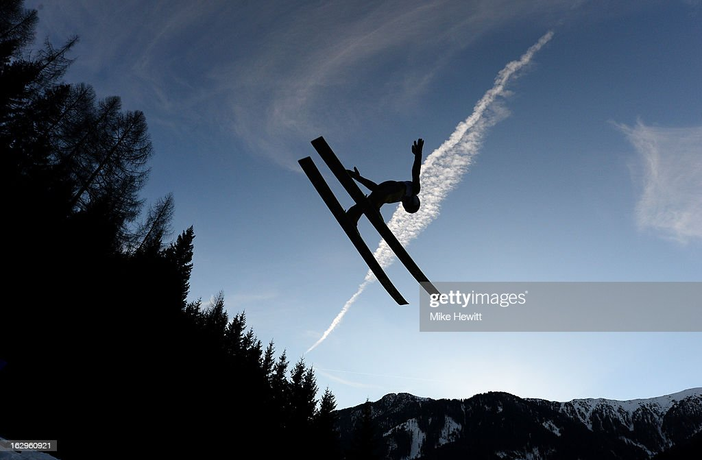 Alexey Romashov of Russia in action during the Men's Ski Jumping Team HS134 at the FIS Nordic World Ski Championships on March 2, 2013 in Val di Fiemme, Italy.