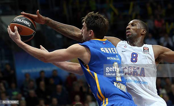 Alexey Shved #1 of Khimki Moscow Region competes with Demetris Nichols #8 of CSKA Moscow during the Turkish Airlines Euroleague Basketball Top 16...