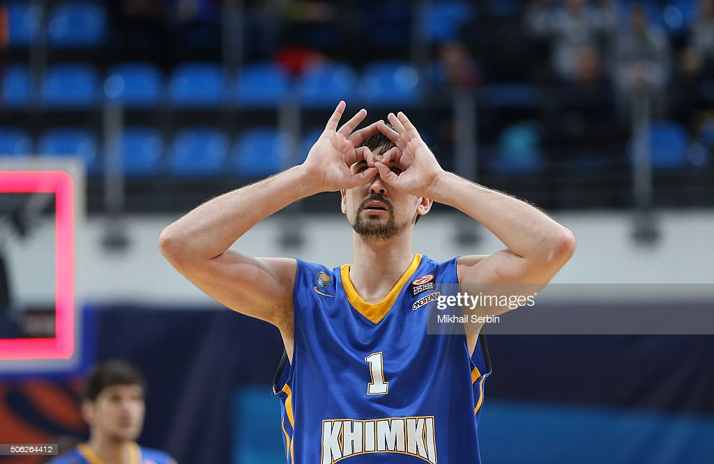 Alexey Shved, #1 of Khimki Moscow Region gestures during the Turkish Airlines Euroleague Basketball Top 16 Round 4 game between Khimki Moscow Region v Brose Baskets Bamberg at Krylatskoye Arena on January 22, 2016 in Moscow, Russia.