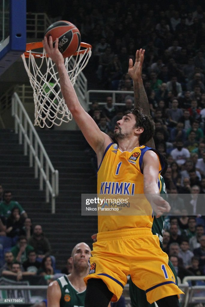 Alexey Shved, #1 of Khimki Moscow Region in action during the 2017/2018 Turkish Airlines EuroLeague Regular Season Round 7 game between Panathinaikos Superfoods Athens and Khimki Moscow Region at Olympic Sports Center Athens on November 14, 2017 in Athens, Greece.
