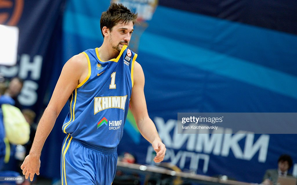 <a gi-track='captionPersonalityLinkClicked' href=/galleries/search?phrase=Alexey+Shved&family=editorial&specificpeople=5557761 ng-click='$event.stopPropagation()'>Alexey Shved</a>, #1 of Khimki Moscow Region reacts during the Turkish Airlines Euroleague Basketball Regular Season date 4 game between Khimki Moscow Region v Strasbourg at Krylatskoye Arena on November 5, 2015 in Moscow, Russia.