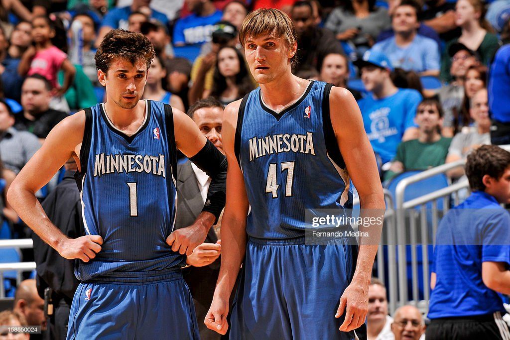 Alexey Shved #1 and Andrei Kirilenko #47 of the Minnesota Timberwolves wait to resume action against the Orlando Magic on December 17, 2012 at Amway Center in Orlando, Florida.