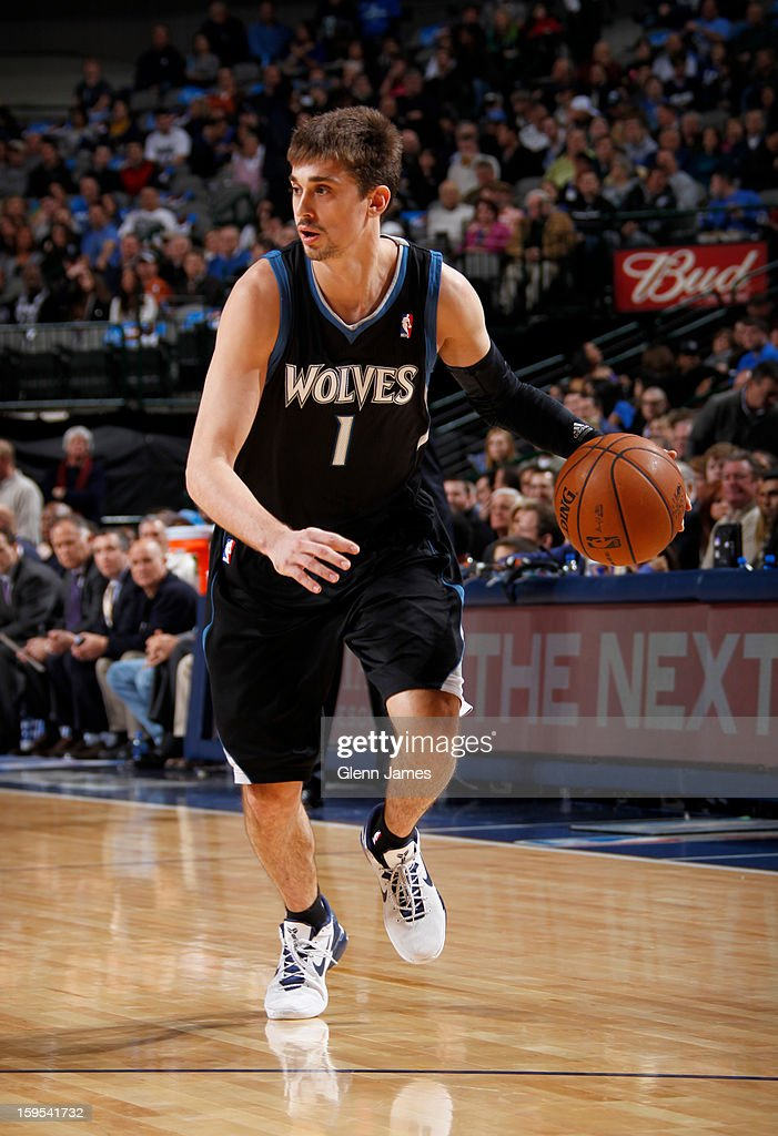 Alexey Shved #1 of the Minnesota Timberwolves brings the ball up the court against the Dallas Mavericks on January 14, 2013 at the American Airlines Center in Dallas, Texas.
