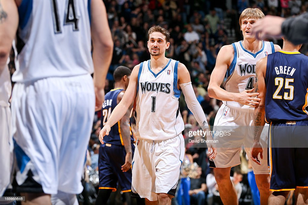 Alexey Shved #1 of the Minnesota Timberwolves celebrates after his team's victory against the Indiana Pacers on November 9, 2012 at Target Center in Minneapolis, Minnesota.