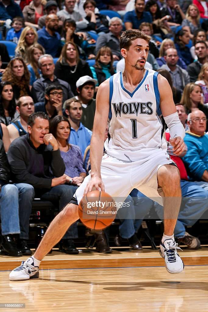 Alexey Shved #1 of the Minnesota Timberwolves controls the ball against the Indiana Pacers on November 9, 2012 at Target Center in Minneapolis, Minnesota.
