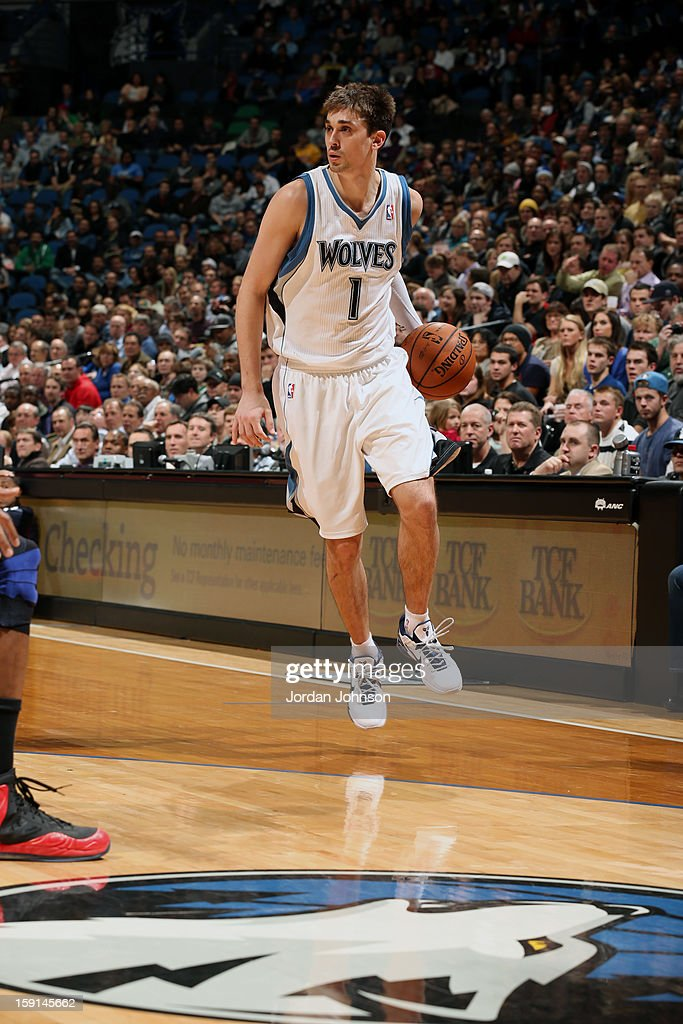 Alexey Shved #1 of the Minnesota Timberwolves dribbles the ball against the Atlanta Hawks during the game on January 8, 2013 at Target Center in Minneapolis, Minnesota.