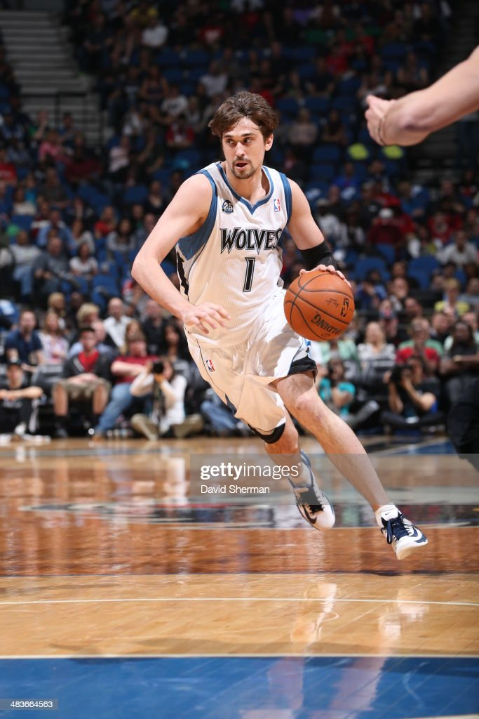 Alexey Shved #1 of the Minnesota Timberwolves dribbles up the court against the Chicago Bulls during the game on April 9, 2014 at Target Center in Minneapolis, Minnesota.
