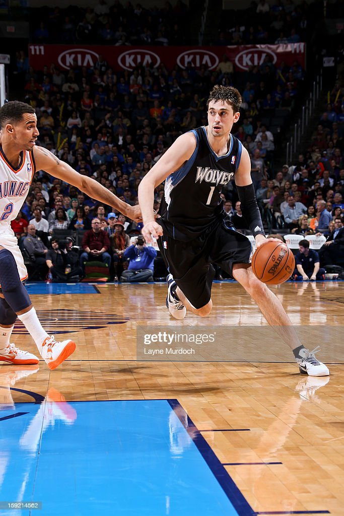 Alexey Shved #1 of the Minnesota Timberwolves drives against Thabo Sefolosha #2 of the Oklahoma City Thunder on January 9, 2013 at the Chesapeake Energy Arena in Oklahoma City, Oklahoma.