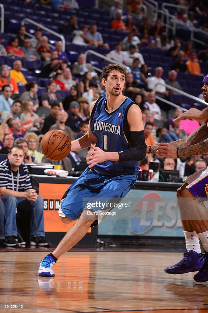 Alexey Shved #1 of the Minnesota Timberwolves drives against the Phoenix Suns on March 22, 2013 at U.S. Airways Center in Phoenix, Arizona.