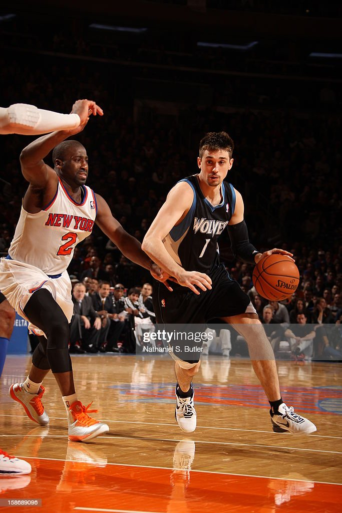 Alexey Shved #1 of the Minnesota Timberwolves drives to the basket against Raymond Felton #2 of the New York Knicks on December 23, 2012 at Madison Square Garden in New York City.