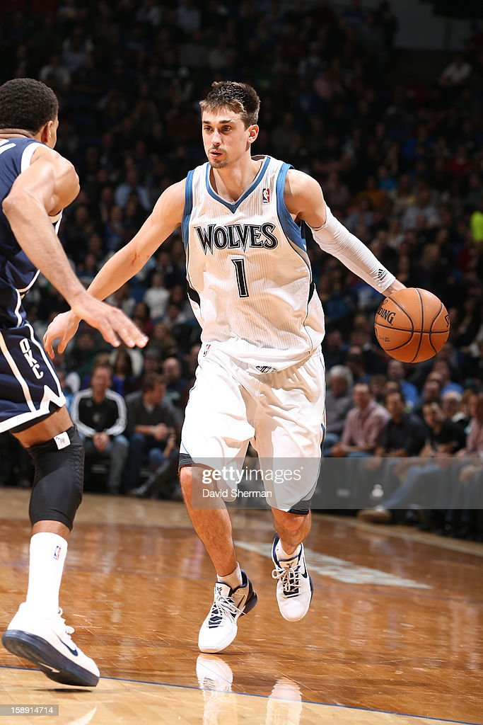 <a gi-track='captionPersonalityLinkClicked' href=/galleries/search?phrase=Alexey+Shved&family=editorial&specificpeople=5557761 ng-click='$event.stopPropagation()'>Alexey Shved</a> #1 of the Minnesota Timberwolves drives to the basket against the Oklahoma City Thunder on December 20, 2012 at Target Center in Minneapolis, Minnesota.