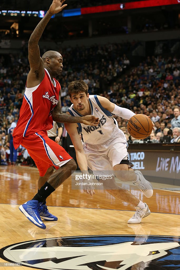 Alexey Shved #1 of the Minnesota Timberwolves drives to the basket against the Los Angeles Clippers on January 17, 2013 at Target Center in Minneapolis, Minnesota.