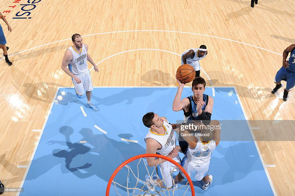 <a gi-track='captionPersonalityLinkClicked' href=/galleries/search?phrase=Alexey+Shved&family=editorial&specificpeople=5557761 ng-click='$event.stopPropagation()'>Alexey Shved</a> #1 of the Minnesota Timberwolves drives to the basket against the Denver Nuggets on March 9, 2013 at the Pepsi Center in Denver, Colorado.