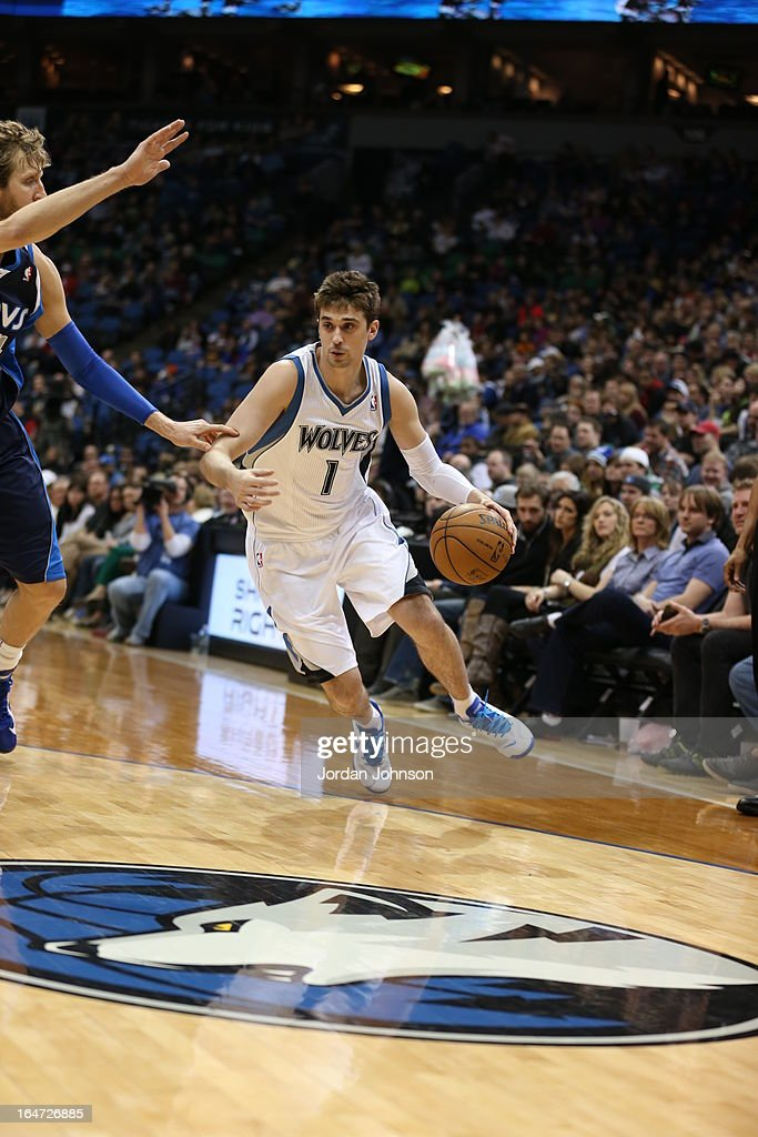 Alexey Shved #1 of the Minnesota Timberwolves drives to the basket against the Dallas Mavericks on March 10, 2013 at Target Center in Minneapolis, Minnesota.