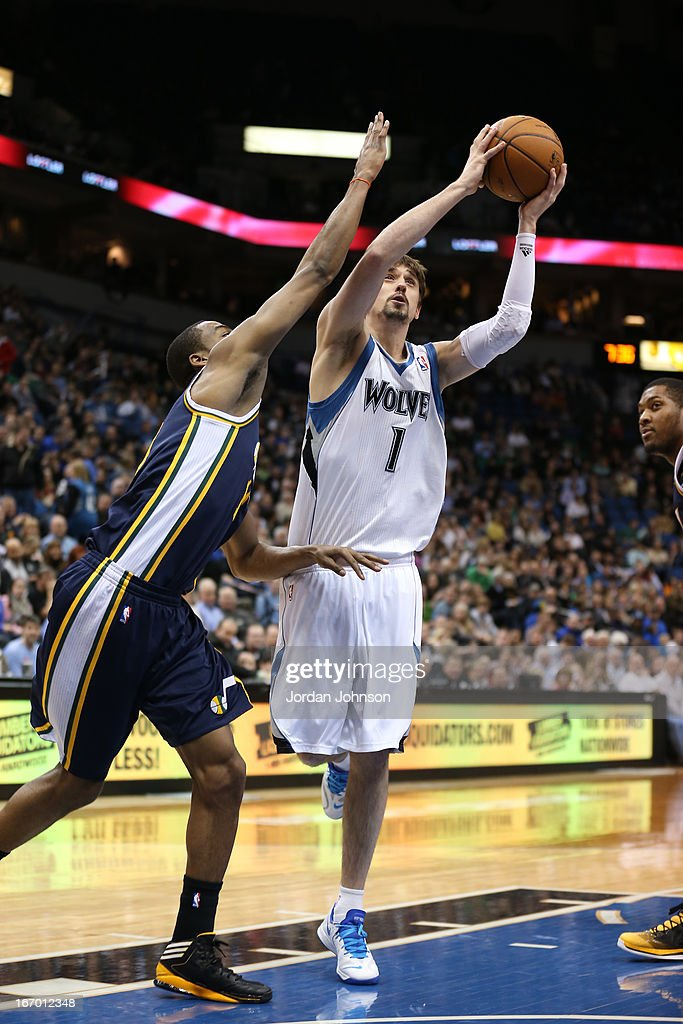 Alexey Shved #1 of the Minnesota Timberwolves drives to the basket against the Utah Jazz on April 15, 2013 at Target Center in Minneapolis, Minnesota.