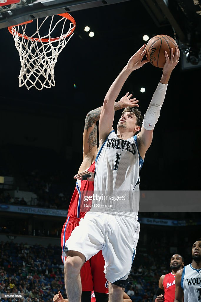 Alexey Shved #1 of the Minnesota Timberwolves goes up for the easy layup against the Los Angeles Clippers during the game on January 17, 2013 at Target Center in Minneapolis, Minnesota.