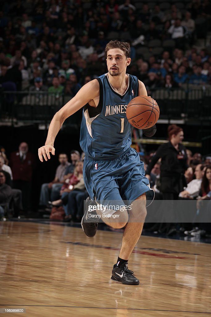<a gi-track='captionPersonalityLinkClicked' href=/galleries/search?phrase=Alexey+Shved&family=editorial&specificpeople=5557761 ng-click='$event.stopPropagation()'>Alexey Shved</a> #1 of the Minnesota Timberwolves handles the ball against the Dallas Mavericks on November 12, 2012 at the American Airlines Center in Dallas, Texas.
