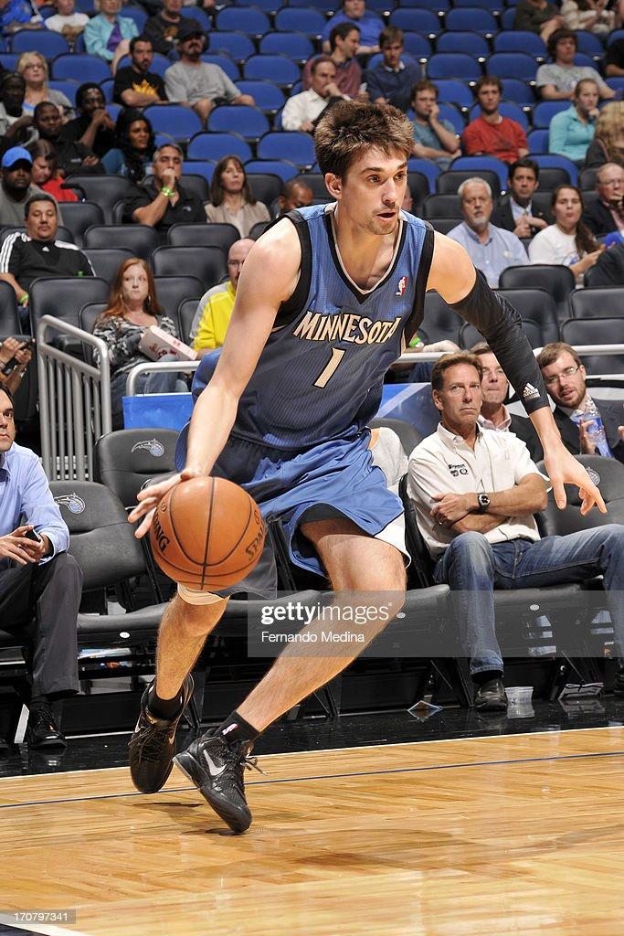 <a gi-track='captionPersonalityLinkClicked' href=/galleries/search?phrase=Alexey+Shved&family=editorial&specificpeople=5557761 ng-click='$event.stopPropagation()'>Alexey Shved</a> #1 of the Minnesota Timberwolves handles the ball against the Orlando Magic on December 17, 2012 at Amway Center in Orlando, Florida.