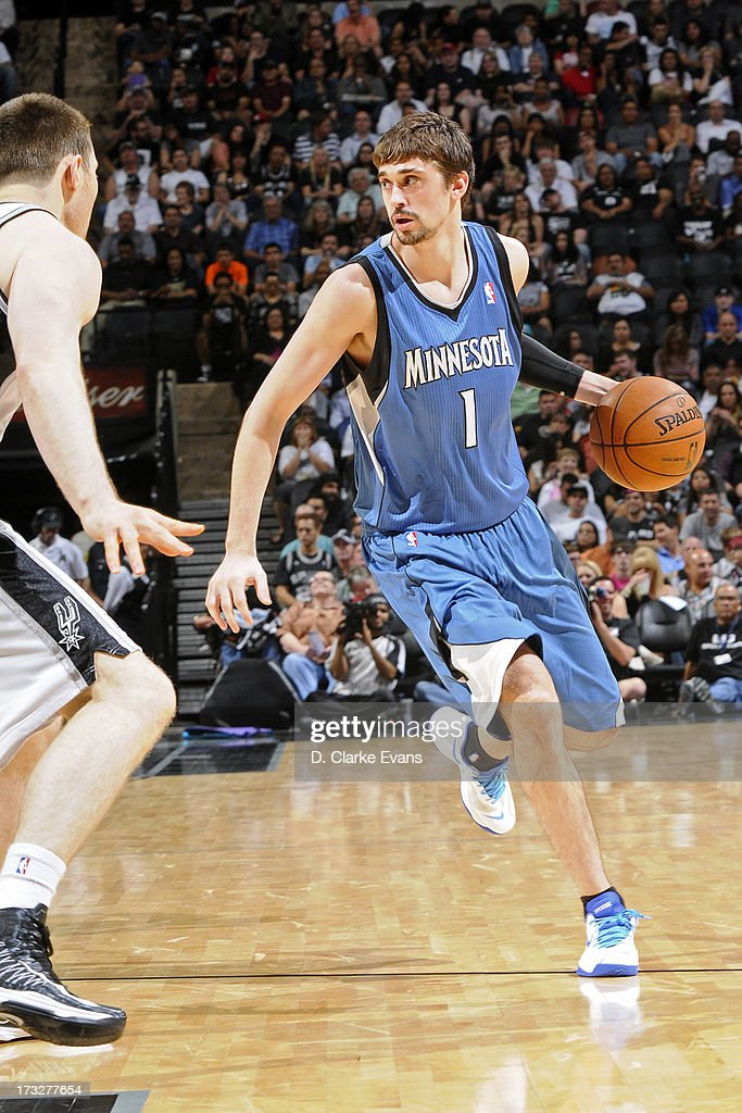 Alexey Shved #1 of the Minnesota Timberwolves handles the ball against the San Antonio Spurs during a game played on April 17, 2013 at the AT&T Center in San Antonio, Texas.