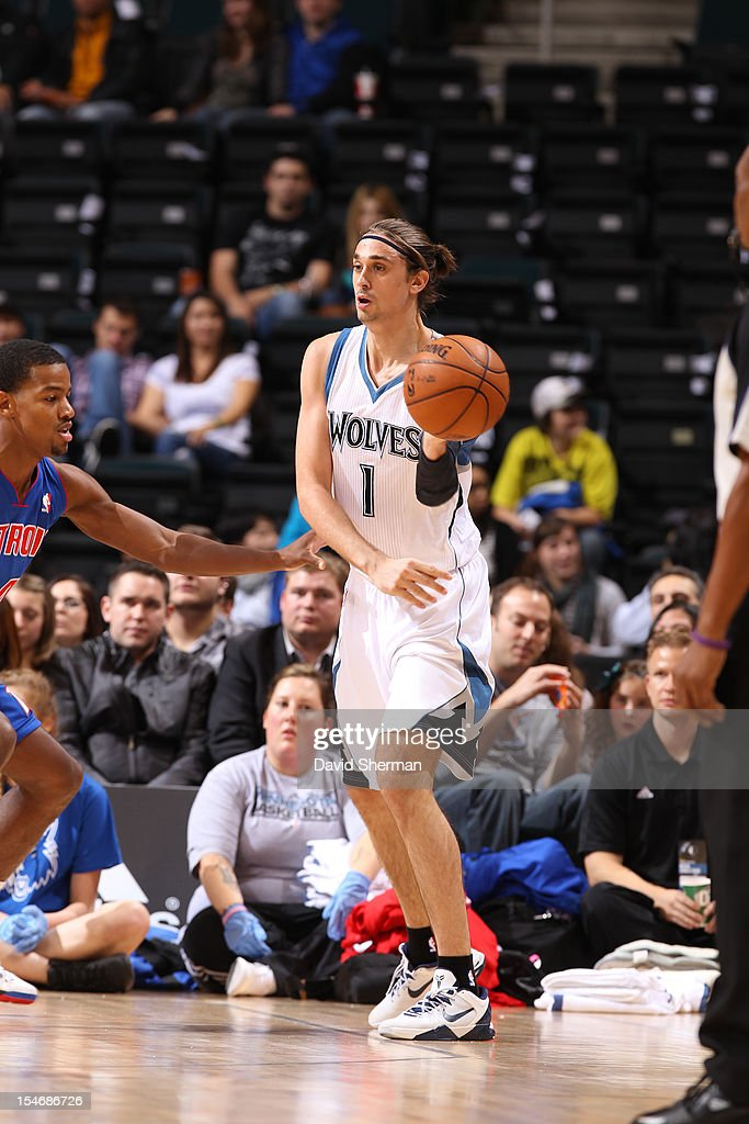 Alexey Shved #1 of the Minnesota Timberwolves handles the ball during the game between the Minnesota Timberwolves and the Detroit Pistons during the NBA preseason as part of NBA Canada Series 2012 on October 24, 2012 at the MTS Centre in Winnipeg, Manitoba, Canada.