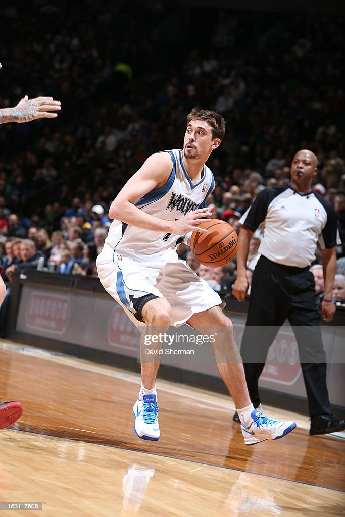 Alexey Shved #1 of the Minnesota Timberwolves looks for an open man against the Miami Heat during the game on March 4, 2013 at Target Center in Minneapolis, Minnesota.