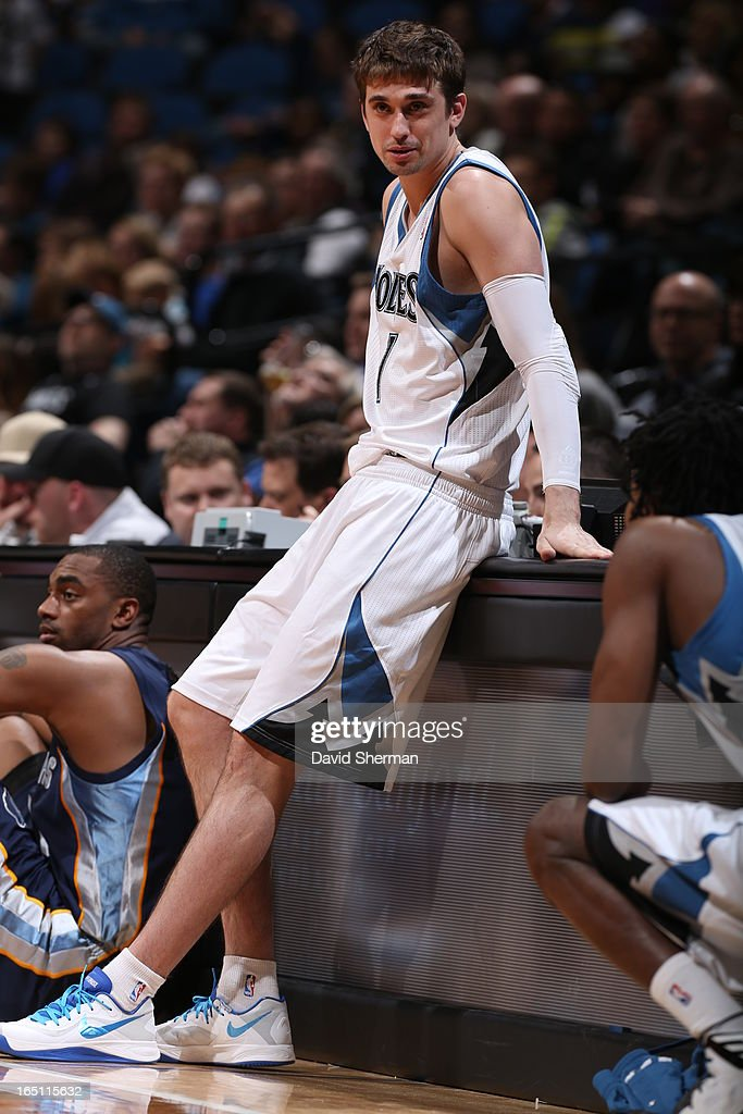 Alexey Shved #1 of the Minnesota Timberwolves looks on from the sidelines during the game between the Memphis Grizzlies and the Minnesota Timberwolves on March 30, 2013 at Target Center in Minneapolis, Minnesota.