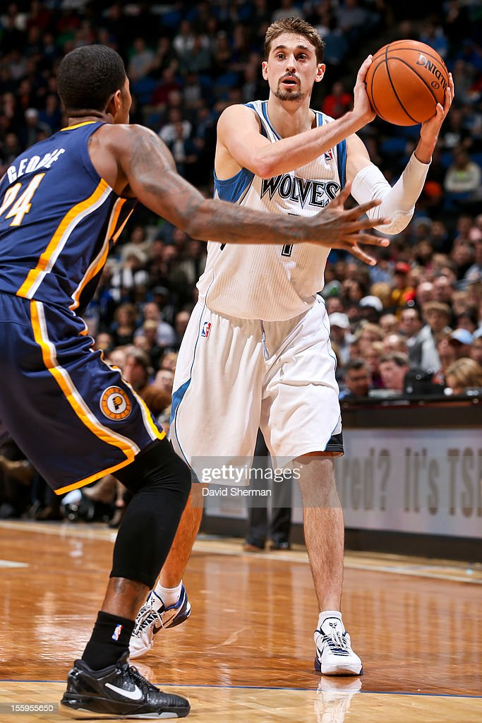 Alexey Shved #1 of the Minnesota Timberwolves looks to pass the ball against Paul George #24 of the Indiana Pacers on November 9, 2012 at Target Center in Minneapolis, Minnesota.