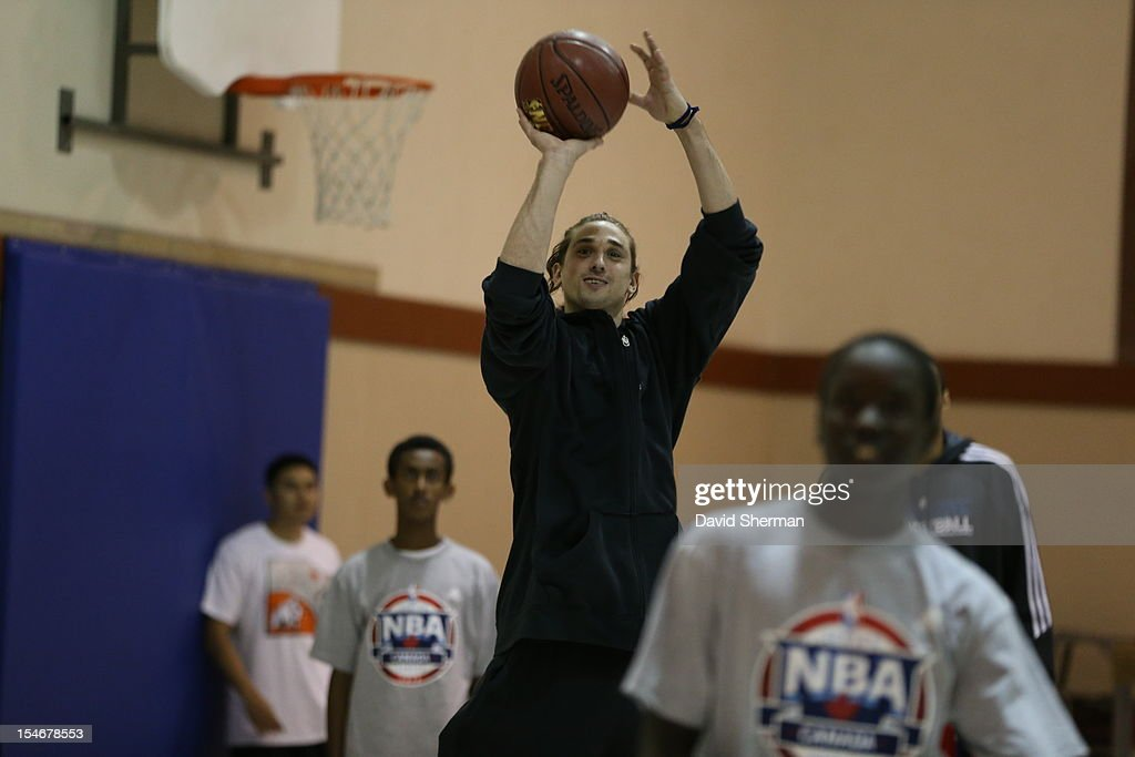 Alexey Shved #1 of the Minnesota Timberwolves participates in a youth clinic during NBA Canada Series 2012 on October 23, 2012 at the Magnus Eliason Recreation Centre in Winnipeg, Manitoba, Canada.