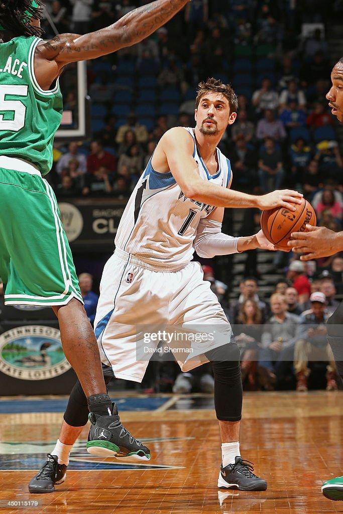 Alexey Shved #1 of the Minnesota Timberwolves passes the ball against the Boston Celtics on November 16, 2013 at Target Center in Minneapolis, Minnesota.